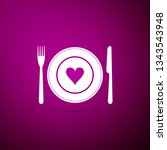 heart on plate  fork and knife... | Shutterstock .eps vector #1343543948