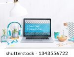 computer staying on a table  ... | Shutterstock . vector #1343556722