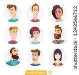 cheerful people avatar... | Shutterstock .eps vector #1343566712