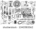 tools for hobby. sewing... | Shutterstock .eps vector #1343583362