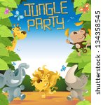 jungle party border | Shutterstock .eps vector #134358545