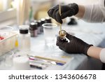 beautician stirs the color for... | Shutterstock . vector #1343606678