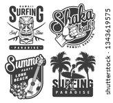 vintage monochrome surfing... | Shutterstock .eps vector #1343619575
