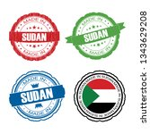 stamp made in sudan label set... | Shutterstock .eps vector #1343629208