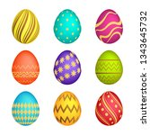 set of nine easter eggs with... | Shutterstock .eps vector #1343645732