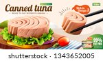 tuna is picked up with... | Shutterstock .eps vector #1343652005