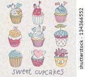 sweet cupcakes        vector... | Shutterstock .eps vector #134366552
