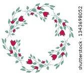 decorative romantic wreath of...   Shutterstock .eps vector #1343698052