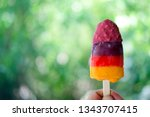 colorful ice pops with fresh... | Shutterstock . vector #1343707415