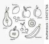 vector set of different fruits...   Shutterstock .eps vector #134371766