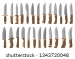 knife set. collection of knives ... | Shutterstock .eps vector #1343720048