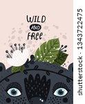 nursery print with cute animal... | Shutterstock .eps vector #1343722475