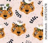 animal print seamless pattern... | Shutterstock .eps vector #1343722478