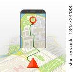 city map route navigation...   Shutterstock . vector #1343724188