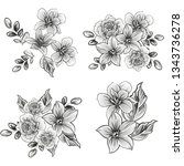 flowers set. collection of... | Shutterstock .eps vector #1343736278