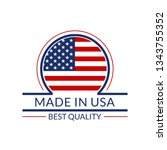 made in usa icon with american... | Shutterstock . vector #1343755352