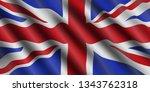 united kingdom flag flowing... | Shutterstock .eps vector #1343762318