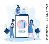 fashion girls with shopping...   Shutterstock .eps vector #1343767925