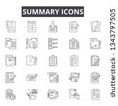summary line icons for web and... | Shutterstock .eps vector #1343797505