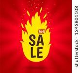 sale banner. inscription hot... | Shutterstock .eps vector #1343801108