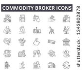 commodity broker line icons for ... | Shutterstock .eps vector #1343802878