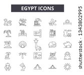 egypt line icons for web and... | Shutterstock .eps vector #1343802995
