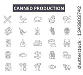 canned production line icons... | Shutterstock .eps vector #1343803742