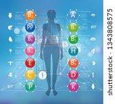 vitamins for human health.... | Shutterstock .eps vector #1343808575