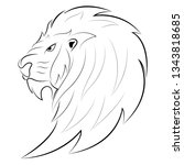 line pattern lion head logo for ... | Shutterstock .eps vector #1343818685