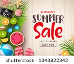 summer sale vector banner... | Shutterstock .eps vector #1343822342