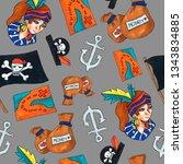 pirate seamless pattern....   Shutterstock . vector #1343834885