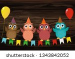 four lovely colored owls ... | Shutterstock .eps vector #1343842052