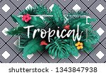 tropical leaves with frame... | Shutterstock .eps vector #1343847938