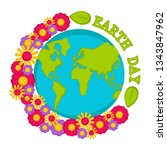 planet earth with flowers.... | Shutterstock .eps vector #1343847962