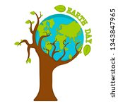 planet earth on a tree. earth... | Shutterstock .eps vector #1343847965