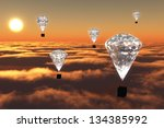 a group of five hot air... | Shutterstock . vector #134385992