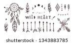 boho style vector collection... | Shutterstock .eps vector #1343883785