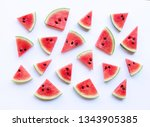 Watermelon Sliced On White...