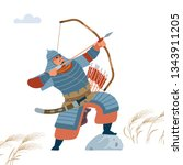 mongol warrior archer with...   Shutterstock .eps vector #1343911205
