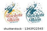 a rocket flying around the moon ... | Shutterstock .eps vector #1343922545