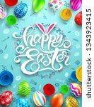 happy easter day poster with... | Shutterstock .eps vector #1343923415