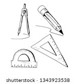 compasses  rulers and pencil.... | Shutterstock .eps vector #1343923538