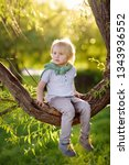 little boy is sitting on a... | Shutterstock . vector #1343936552