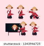 sensei martial art character | Shutterstock .eps vector #1343946725