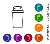 grey fitness shaker line icon... | Shutterstock .eps vector #1343948372