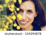 portrait of smiling woman... | Shutterstock . vector #134394878