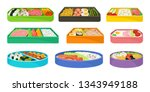 japanese food in lunch boxes on ... | Shutterstock .eps vector #1343949188