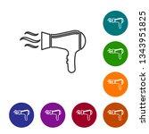 grey hair dryer line icon... | Shutterstock .eps vector #1343951825