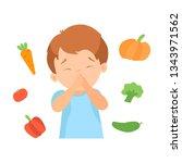 cute boy refusing to eat...   Shutterstock .eps vector #1343971562