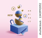 memphis style 3d geometric...   Shutterstock .eps vector #1343992052